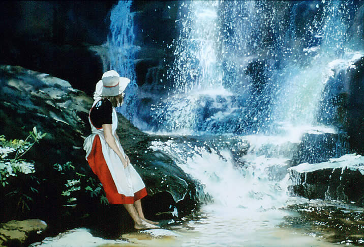 Linda with Empress Falls, watercolour by Wayne Roberts