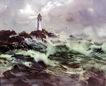 Lighthouse, watercolor by Wayne Roberts