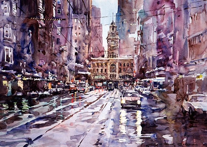Flinders Street Melbourne, watercolor