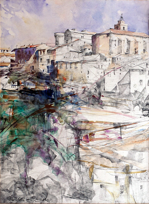 Gordes, Provence - watercolour and graphite on paper