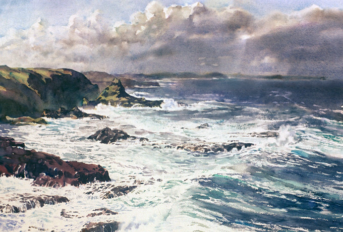 Phillip Island, watercolour by Wayne Roberts