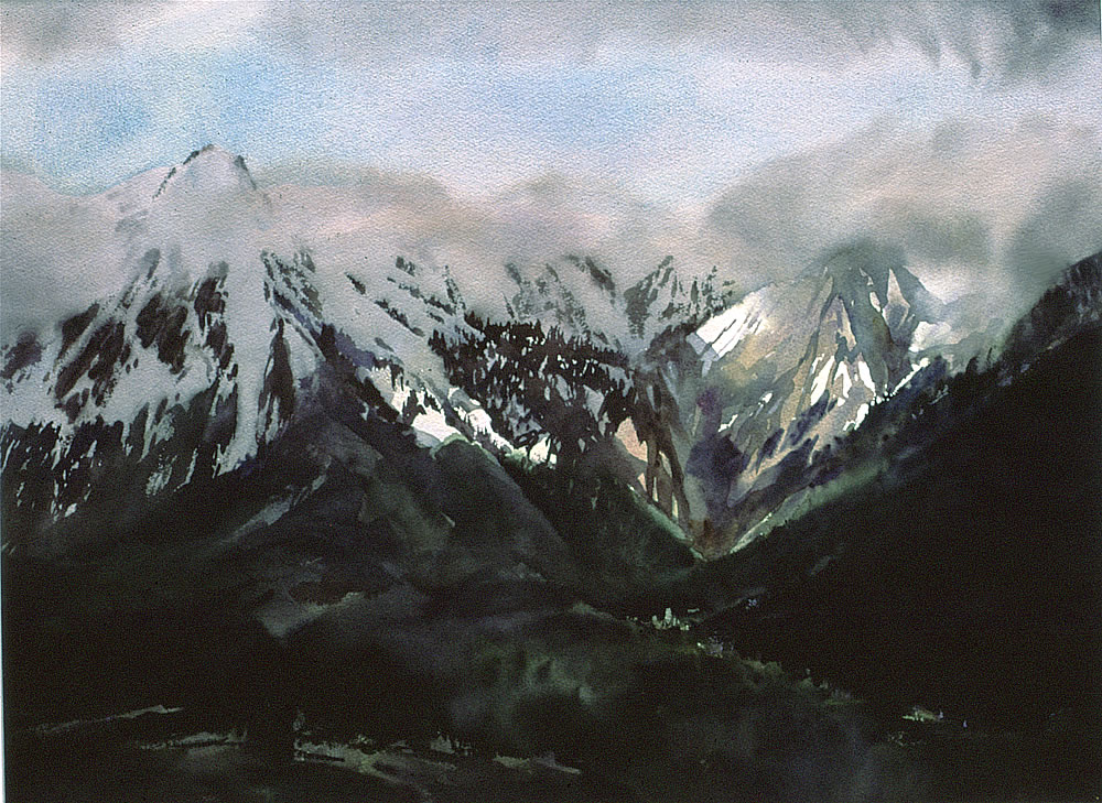 Watercolour of alps near Briancon, By Wayne Roberts