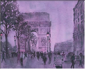 Champs Elysees at Dusk, watercolour
