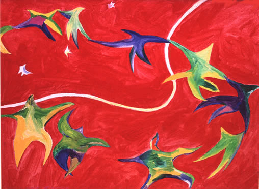 acrylic painting, abstract figuration, Kepler's Dream and the Language of Matisse