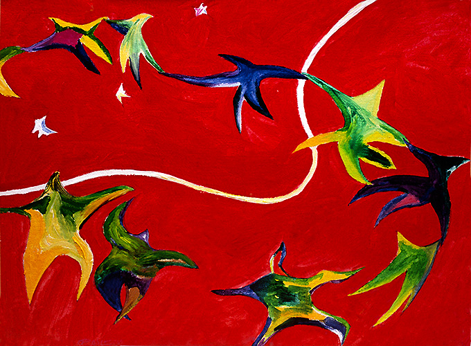 Kepler's Dream and the Language of Matisse, a painting by Wayne Roberts