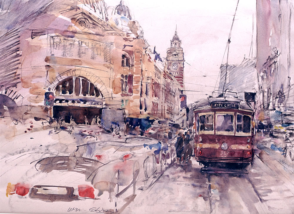 Flinders Street Station, watercolour and drawing in graphite and charcoal by Wayne Roberts