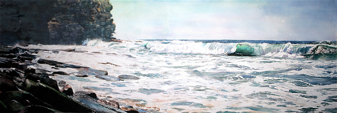 North Head Bilgola, very large scale watercolour by Wayne Roberts