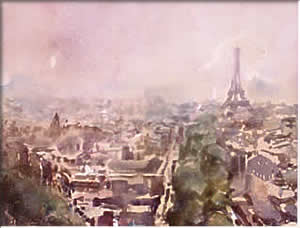 Paris from the Arc de Triomphe, watercolour by Wayne Roberts
