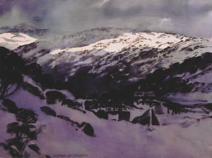 Perisher, watercolor painting by Wayne Roberts