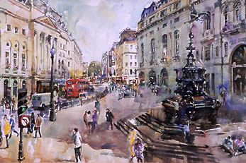 watercolour, Piccadilly Circus
