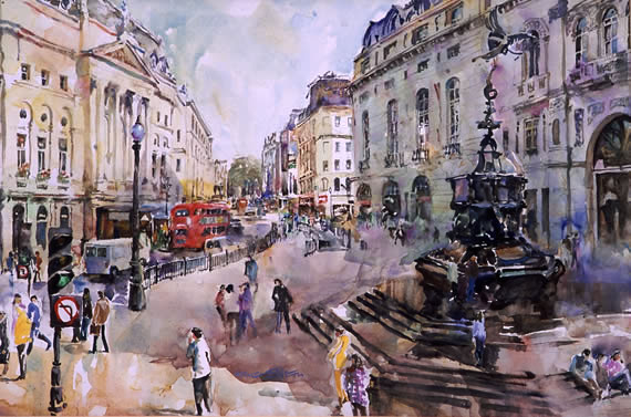watercolour painting of Piccadilly Circus, London, by Wayne Roberts