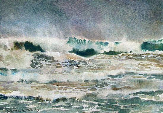 Watercolour seascape, Pacific