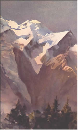 Mont Blanc, watercolour