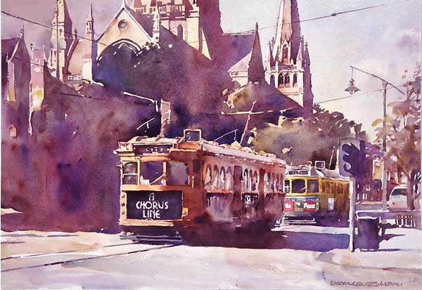 Swanston Street, Melbourne, watercolour by Wayne Roberts