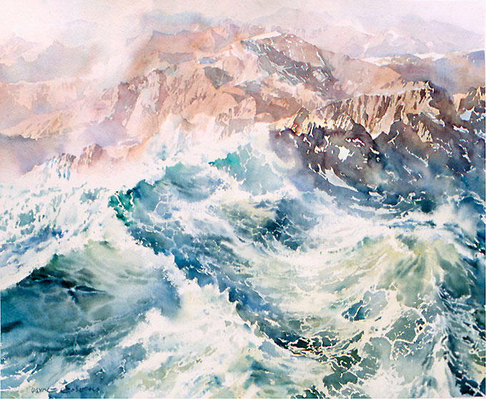 Wave upon wave, transparent watercolour by Wayne Roberts