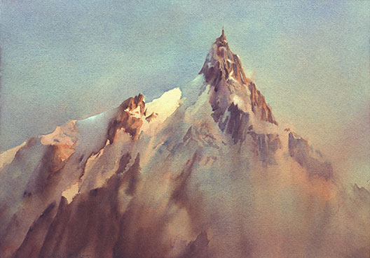 transparent watercolour, Chamonix Dawn, France
