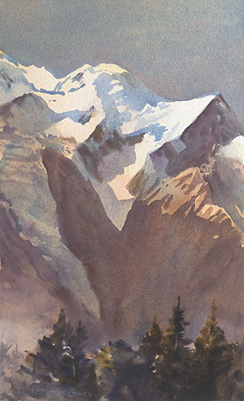 transparent watercolour by Wayne Roberts, Mont Blanc Glacier