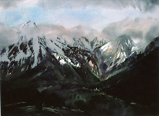 transparent watercolour painting, Alps near Briancon