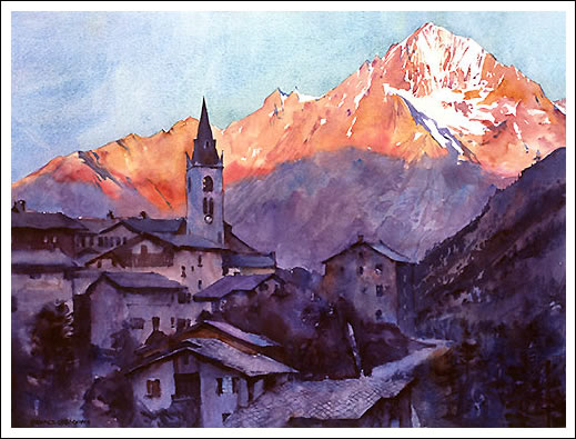 Lanslevillard, watercolour French Alps