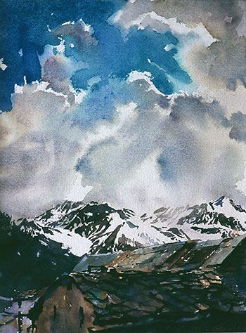 Alps at St Veran, watercolour