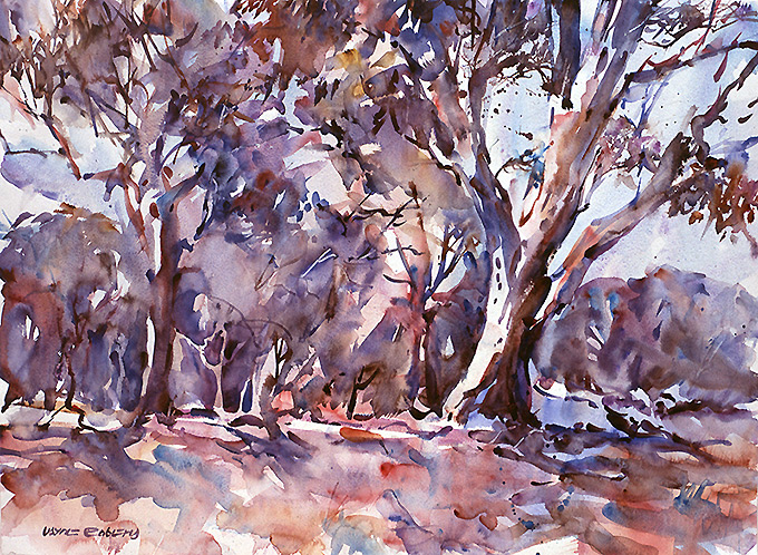 Eucalypts, watercolour